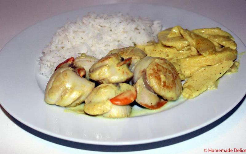 Recette saint-jacques & pommes au lait de coco, curry économique ...