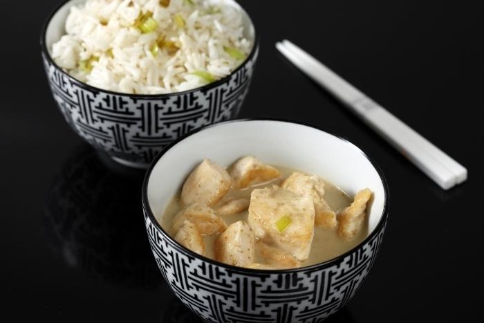 Recette de curry vert de poulet au lait de coco, riz basmati à l ...