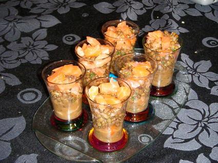 Duo de délice de saumon fumé et lentilles en verrines