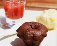 Recette cœur coulant au chocolat noir et sa verrine de marmelade ...