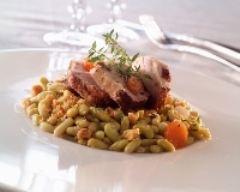Recette filets mignons de porc et crumble de flageolets verts
