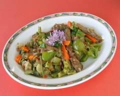 Recette sauté de boeuf et légumes au gingembre sans gluten