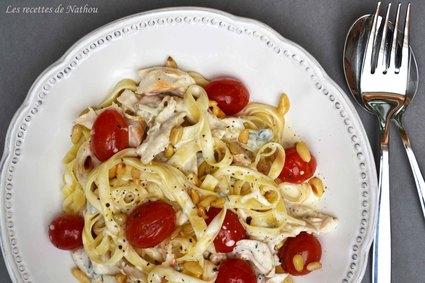Recette de tagliatelles au poulet, sauce crémeuse au gorgonzola ...