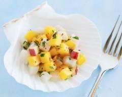 Recette céviche de pétoncles marinés aux deux poivrons et ...