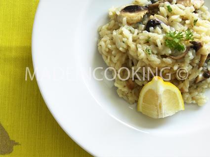 Risotto au citron, champignons et parmesan