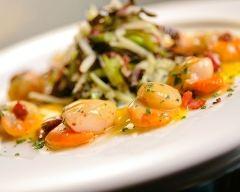 Recette st-jacques, mangues et mesclun en salade