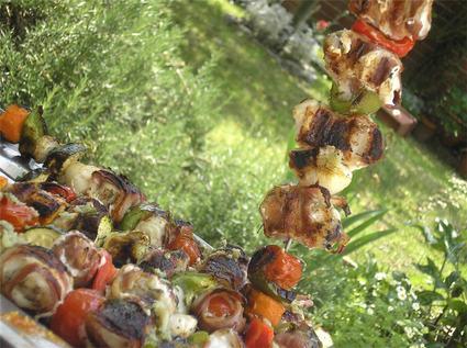 Recette de brochettes de lotte aux légumes grillés