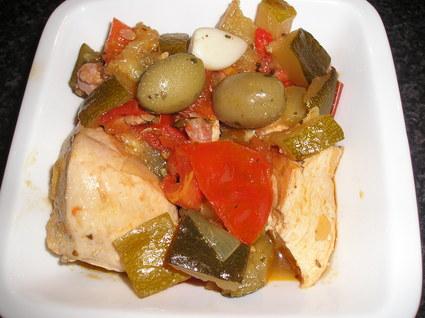 Recette de poulet aux olives et ses légumes