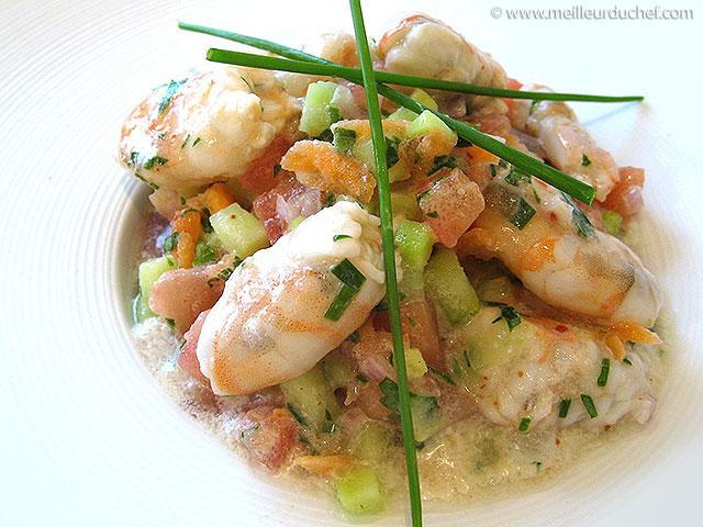 Salade de gambas marinées, et lait de coco  recette de cuisine ...
