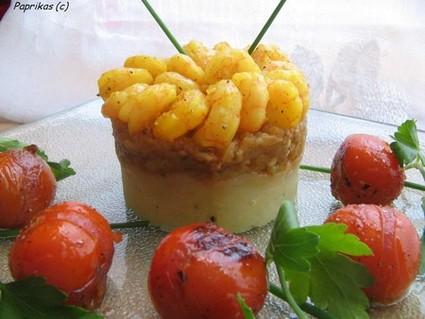 Recette de timbale de légumes orientale et crevettes au safran