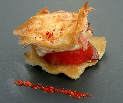 Recette de mille-feuille de tomates, chantilly de mozzarella