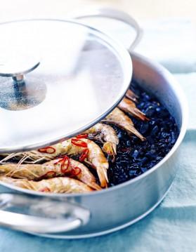 Riz noir, calamars et gambas pour 6 personnes