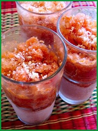 Verrines de granité de tomates au basilic