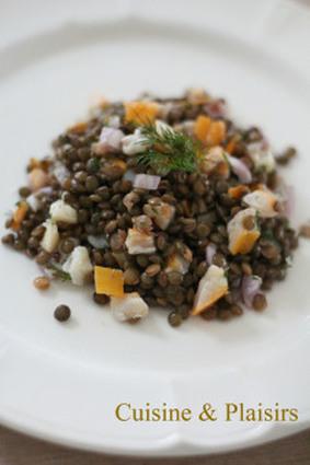 Recette de salade de lentilles au haddock, citron et aneth