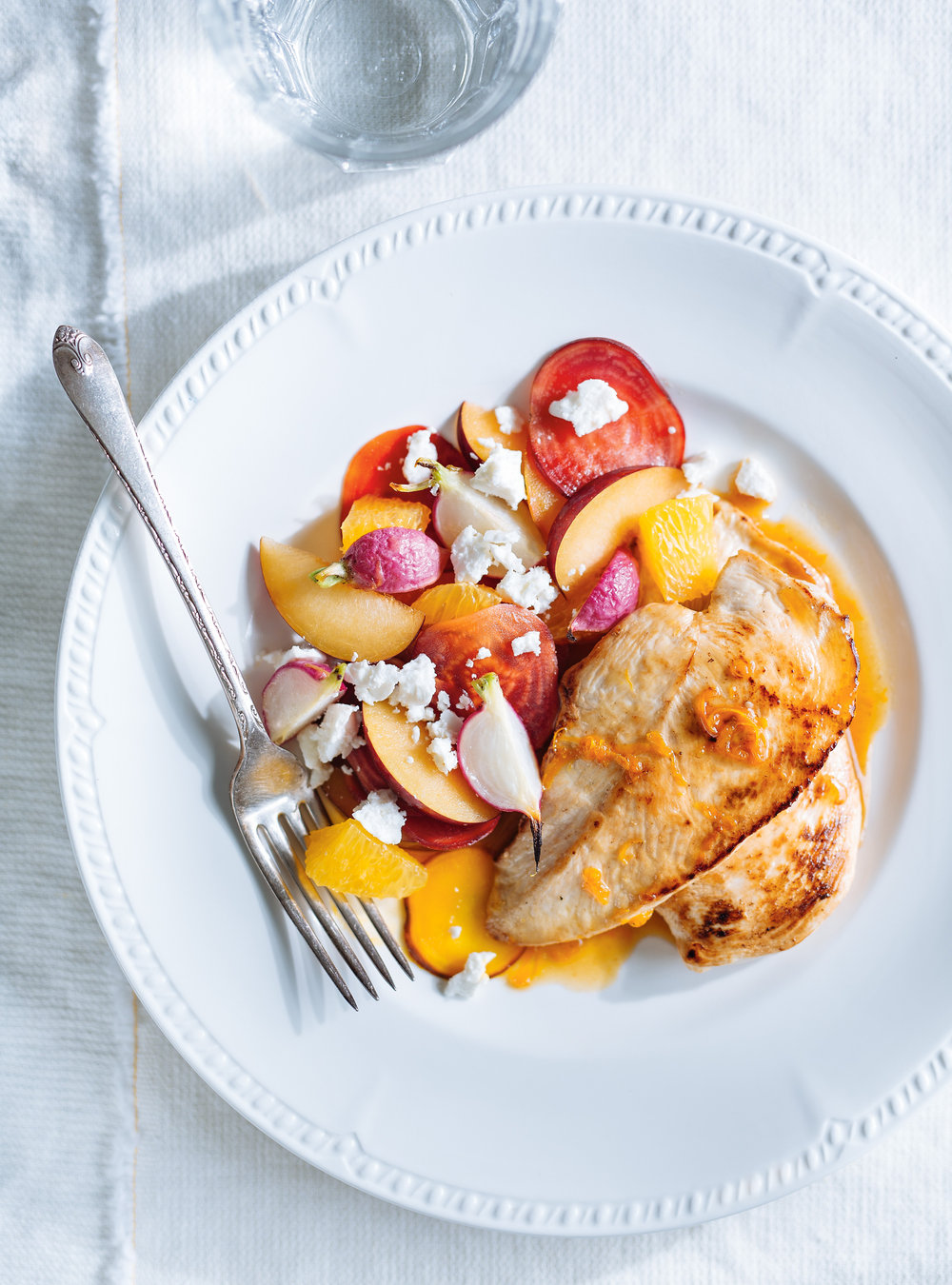 Poulet à l'orange, betteraves et radis rôtis   ricardo
