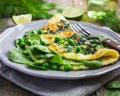 Recette omelette aux petits pois et épinards