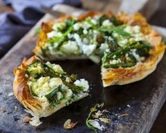 Recette tarte asperges, brocoli, courgette et feta