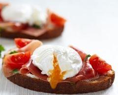 Recette tartines au jambon de parme et œuf poché