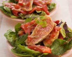 Recette salade tiède de rougets aux piquillos, sauce vierge