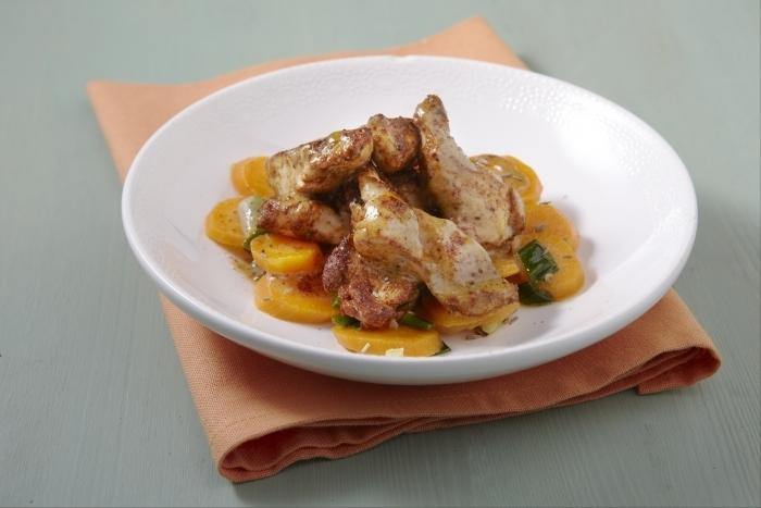 Recette de filet de poulet tandoori, carottes glacées au cumin facile ...