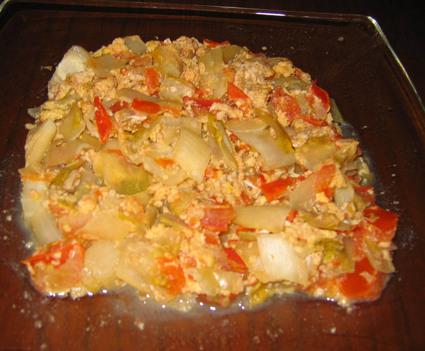 Recette oeufs brouillés endives-tomates