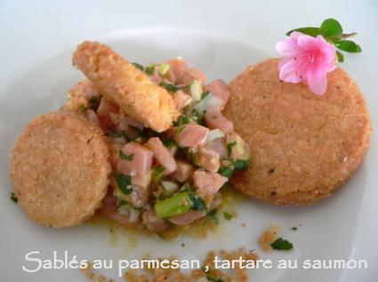 Recette de sablés au parmesan, tartare de saumon