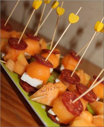 Recette de bouchées chorizo/melon/feta