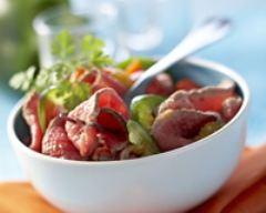 Recette salade de boeuf aux poivrons confits