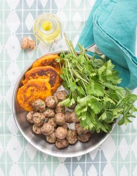 Boulettes et blinis de patates douces pour 4 personnes
