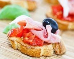 Recette tapas jambon ibérique, tomate et olive