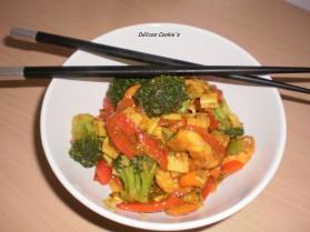 Poêlée de crevettes surimi et ses légumes au curry pour 1 personne ...