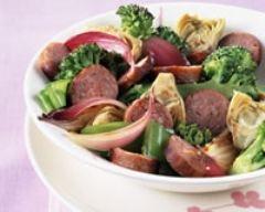 Recette poêlée de légumes et saucisses