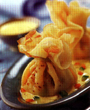 Recette aumônière au crabe et au beurre blanc