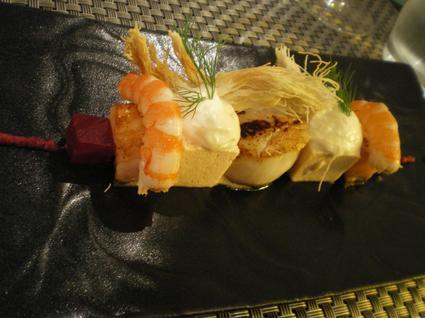 Recette de brochettes de crevettes, saint-jacques et foie gras