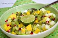 Recette de salade de fruits mangue, grenade, kiwi