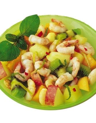 Recette de salade de crevettes aux fruits