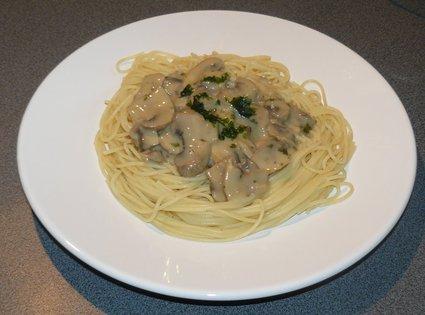 Recette de spaghettis sauce aux champignons