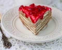 Recette mille-feuille de crêpes au chocolat et coulis de fruits rouges