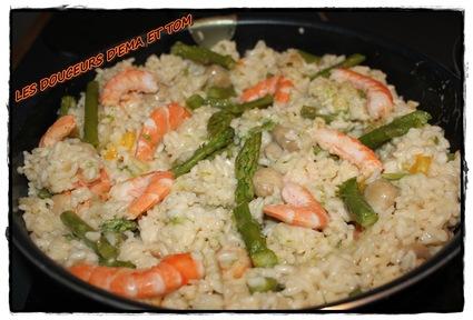 Recette de risotto aux asperges et crevettes