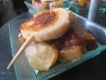 Recette de verrines échalotes-pommes-noix et boudin blanc