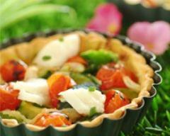 Recette tarte fine tablier blanc aux légumes d'été, effeuillé de morue