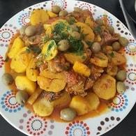 Recette de tajine de veau aux pommes de terre et olives