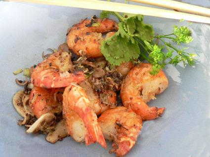 Recette de crevettes sautées au poivre et sel