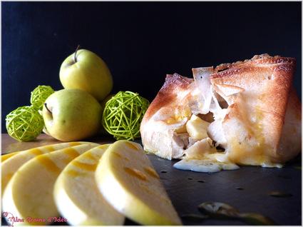Recette aumônière boudin blanc, pommes et camembert