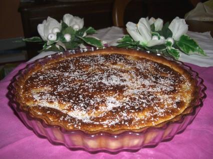 Recette de tarte coco poire sur lit de chocolat