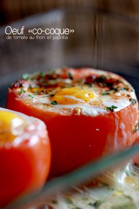 Recette oeufs cocottes de tomates au thon et paprika