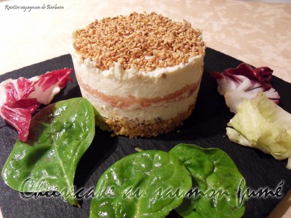 Recette de cheesecake au saumon fumé, tuc et parmesan