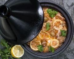 Recette tajine de poulet au citron, olive et coriandre