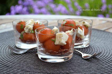Recette de verrines de melon mariné au porto et au basilic ...