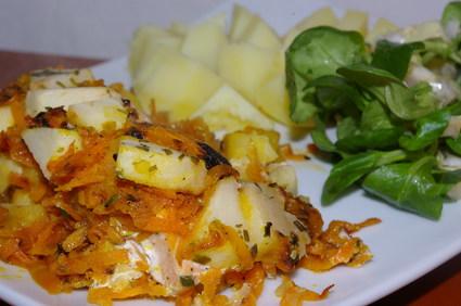 Recette de saumon en papillote aux pommes et aux carottes